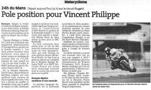 Pôle Position pour Vincent Philippe