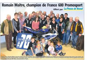 Romain Maitre, champion de France 600 Promosport